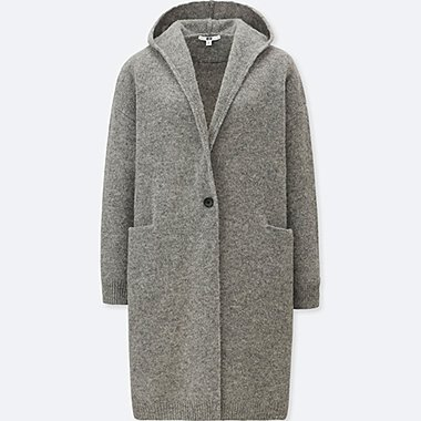 WOMEN WOOL HOODED KNITTED COAT, GRAY, medium
