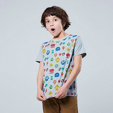 KIDS SPLATOON UT (SHORT-SLEEVE GRAPHIC T-SHIRT), GRAY, medium