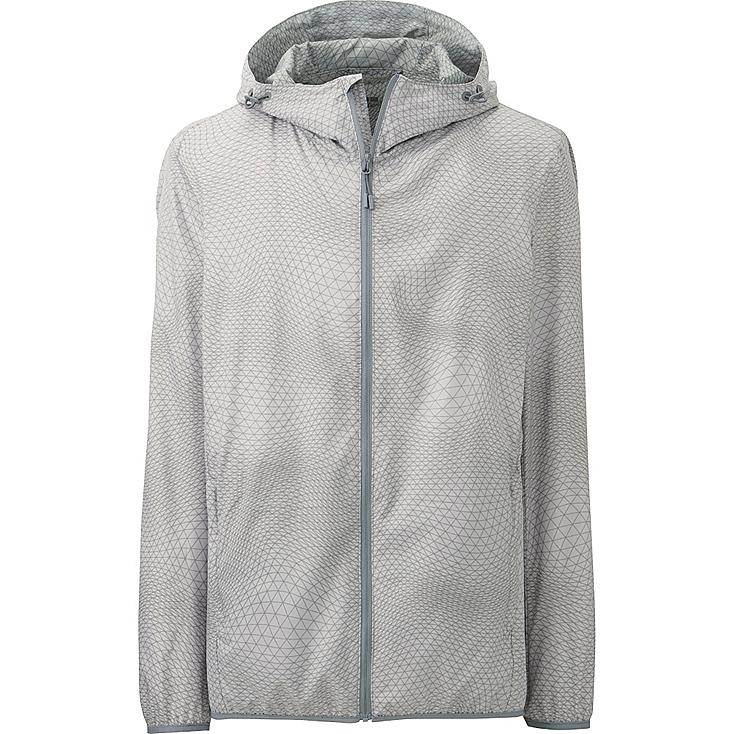 Men Packable Hooded Jacket, GRAY, large