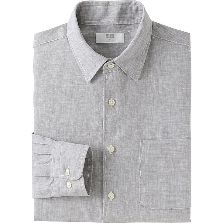 Men Premium Linen Long Sleeve Shirt, GRAY, large