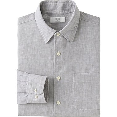Men Premium Linen Long Sleeve Shirt, GRAY, medium