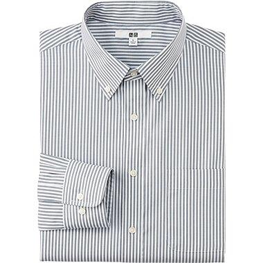 Mens Easy Care Striped Dress Shirt, GRAY, medium