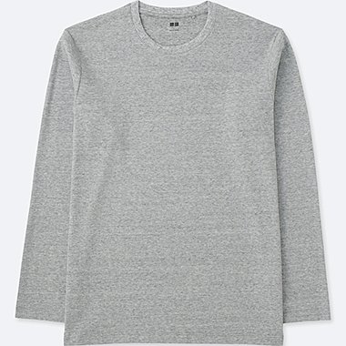 MEN SOFT TOUCH CREWNECK LONG SLEEVE T-SHIRT, GRAY, medium