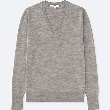 Women Extra Fine Merino Wool V-Neck Sweater, GRAY, medium