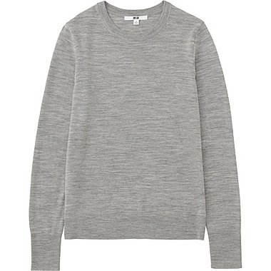 WOMEN EXTRA FINE MERINO CREWNECK SWEATER, GRAY, medium
