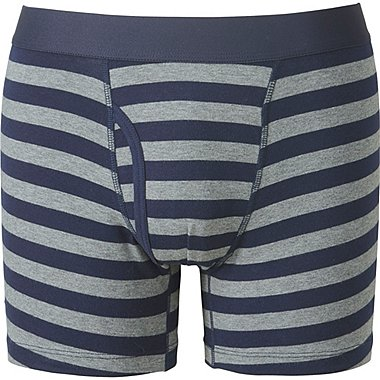 MEN SUPIMA COTTON STRIPED BOXER BRIEFS, GRAY, medium