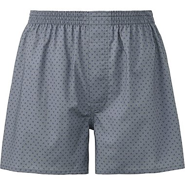 MEN WOVEN PRINTED TRUNKS, GRAY, medium