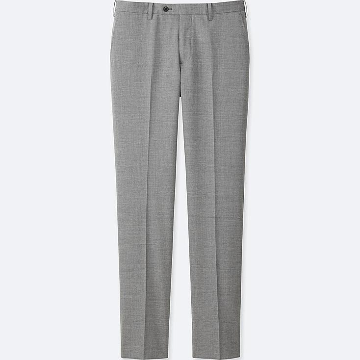 MEN STRETCH WOOL SLIM-FIT FLAT FRONT PANTS, GRAY, large