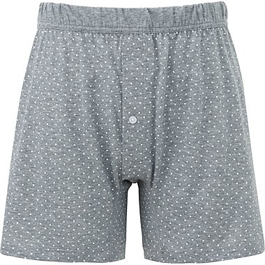 MEN SUPIMA COTTON KNIT DOTS BOXERS, GRAY, medium