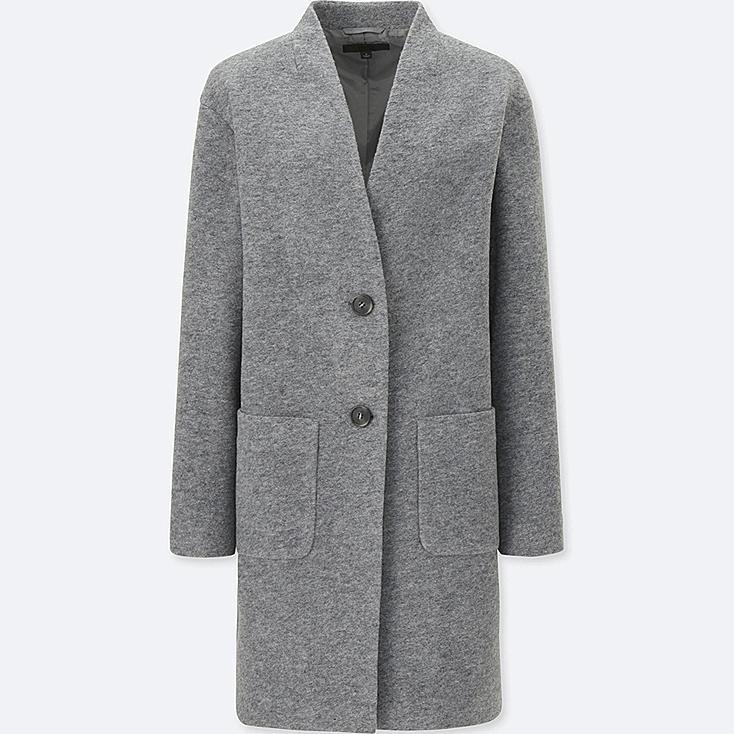WOMEN SOFT WOOL BLEND COLLARLESS COAT, GRAY, large