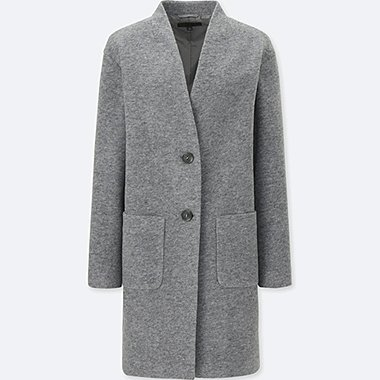 WOMEN SOFT WOOL BLEND COLLARLESS COAT, GRAY, medium