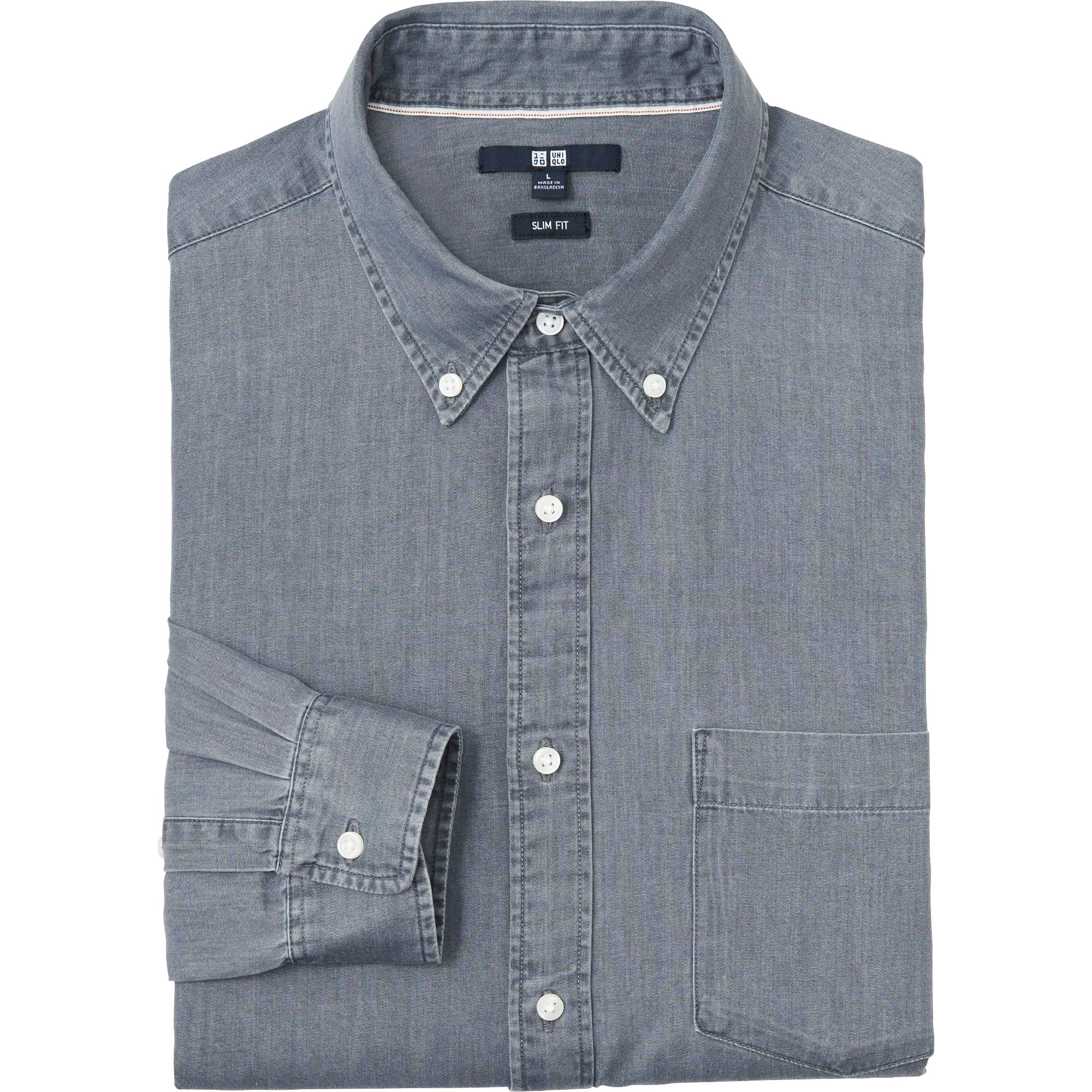 MEN DENIM SLIM FIT LONG SLEEVE SHIRT | UNIQLO US