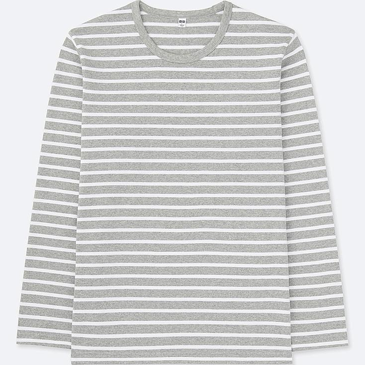 MEN WASHED STRIPED LONG SLEEVE T-SHIRT, GRAY, large