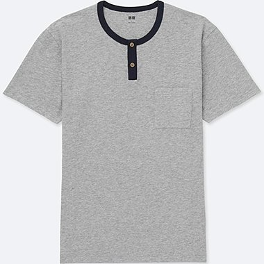 MEN Washed Slub Short Sleeve Henley Neck Tee