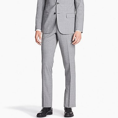 MEN STRETCH SLIM-FIT WOOL FLAT-FRONT PANTS, GRAY, medium