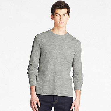 MEN SOFT TOUCH CREWNECK LONG-SLEEVE T-SHIRT, GRAY, medium