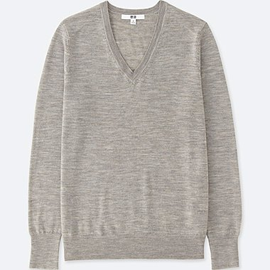 Women Extra Fine Merino V Neck Sweater, GRAY, medium