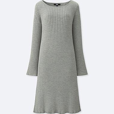 WOMEN MERINO BLEND WIDE-SLEEVE DRESS, GRAY, medium