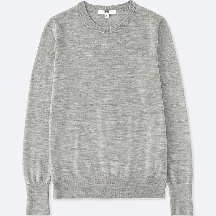 WOMEN EXTRA FINE MERINO CREW NECK SWEATER | UNIQLO UK