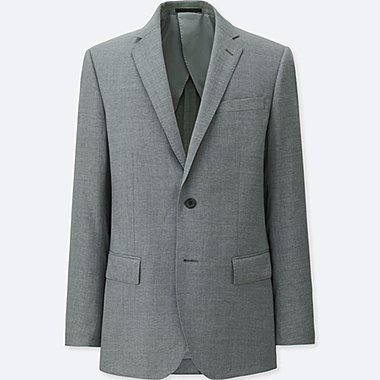 MEN STRETCH WOOL JACKET, GRAY, medium