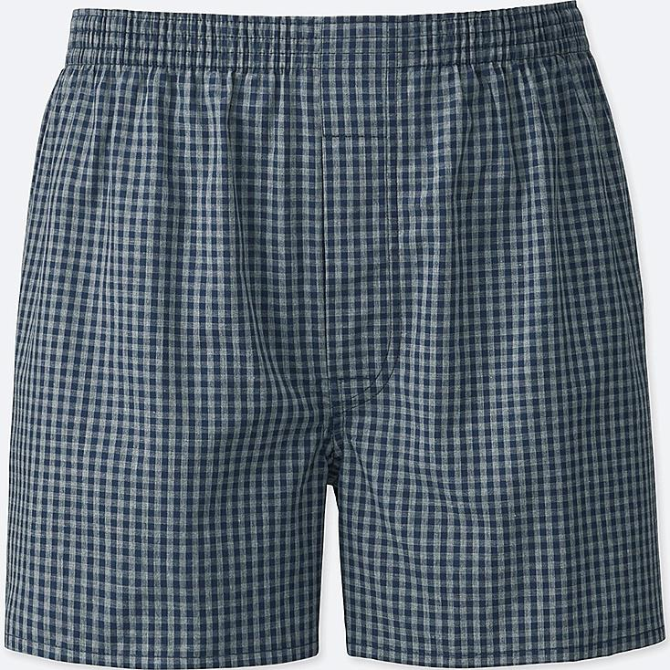 MEN WOVEN CHECKED BOXERS, GRAY, large