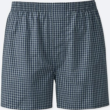 MEN WOVEN CHECKED BOXERS, GRAY, medium