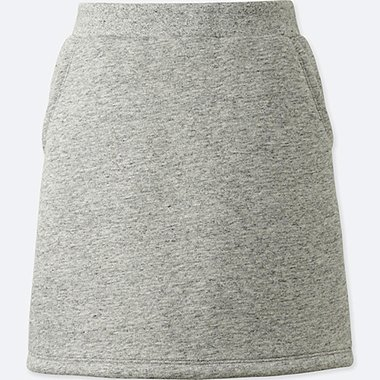 GIRLS PILE-LINED SWEAT SKIRT, GRAY, medium