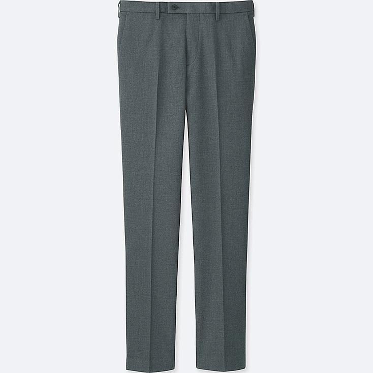 MEN HEATTECH STRETCH SLIM-FIT FLAT-FRONT PANTS, GRAY, large