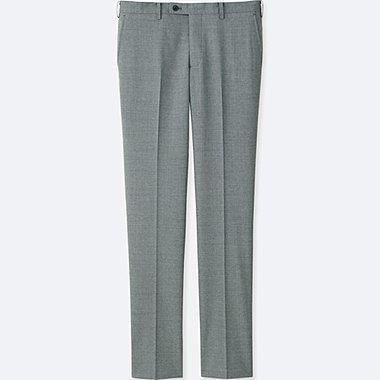 MEN STRETCH WOOL SLIM-FIT FLAT-FRONT PANTS, GRAY, medium