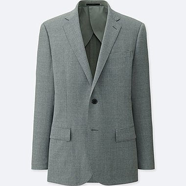 MEN WOOL SLIM FIT STRETCH BLAZER SUIT JACKET