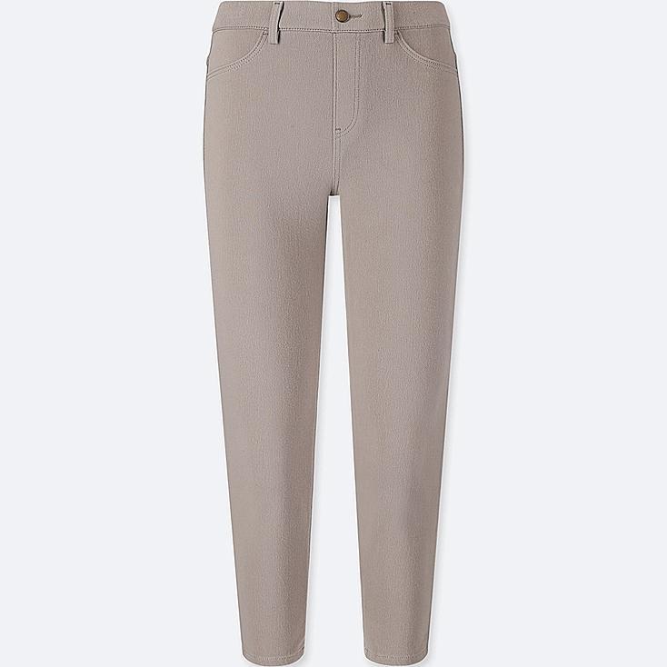 WOMEN CROPPED LEGGINGS PANTS, GRAY, large