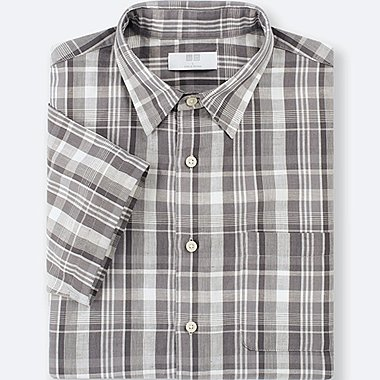 MEN LINEN COTTON CHECKED SHORT-SLEEVE SHIRT, GRAY, medium