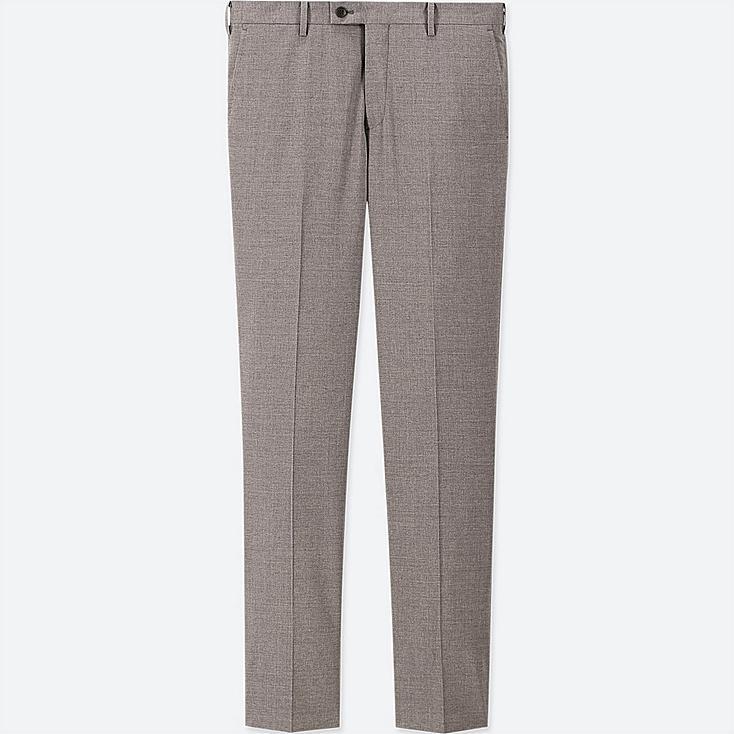 MEN STRETCH WOOL SLIM-FIT FLAT-FRONT PANTS, GRAY, large