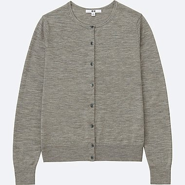 WOMEN EXTRA FINE MERINO CREWNECK CARDIGAN, GRAY, medium
