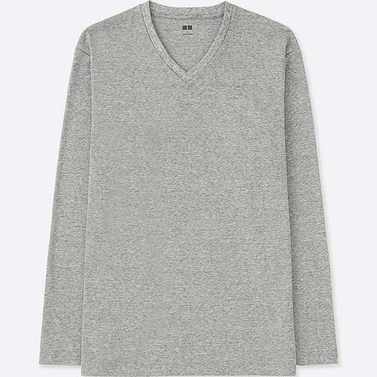 MEN SOFT TOUCH V-NECK LONG-SLEEVE T-SHIRT, GRAY, large