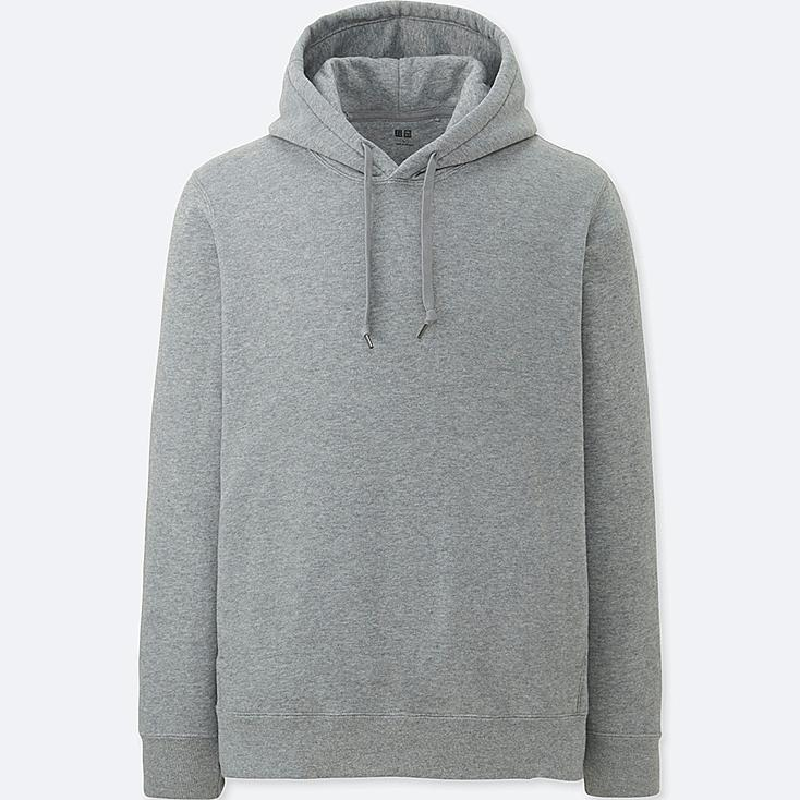 MEN LONG-SLEEVE HOODED SWEATSHIRT, GRAY, large