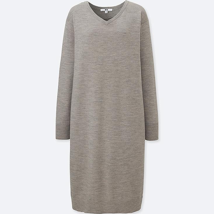 WOMEN MERINO-BLEND V-NECK LONG-SLEEVE DRESS, GRAY, large