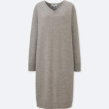 WOMEN MERINO WOOL BLEND V NECK LONG SLEEVED DRESS