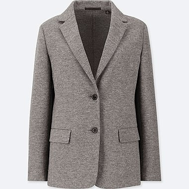 WOMEN WOOL-BLEND JACKET (ONLINE EXCLUSIVE), GRAY, medium