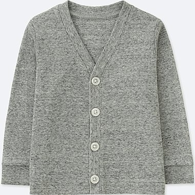 TODDLER COTTON V-NECK LONG-SLEEVE CARDIGAN, GRAY, medium