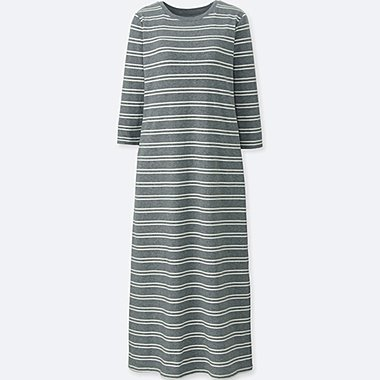 WOMEN STRIPED 3/4 SLEEVE BRA DRESS (ONLINE EXCLUSIVE), GRAY, medium