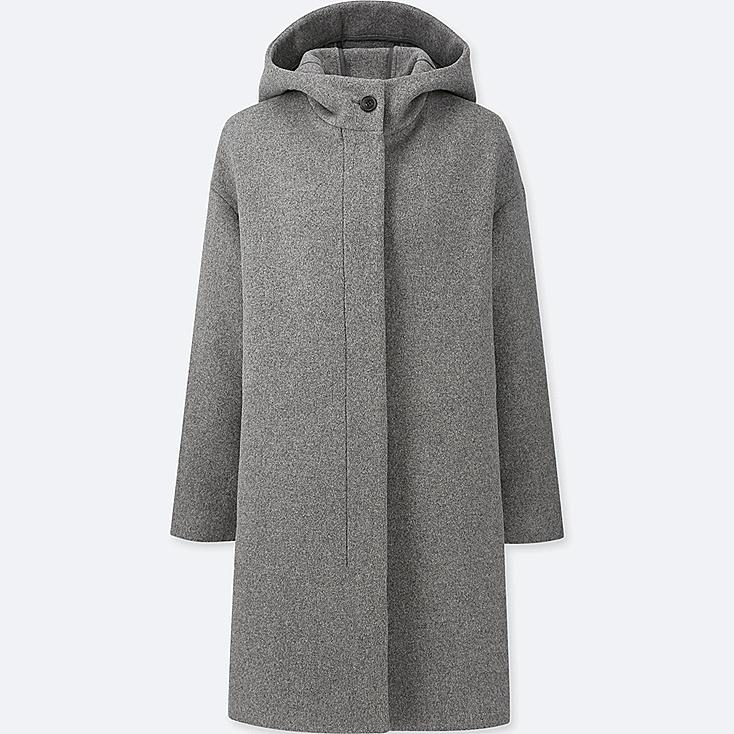 WOMEN LIGHTWEIGHT WOOL-BLEND HOODED COAT, GRAY, large