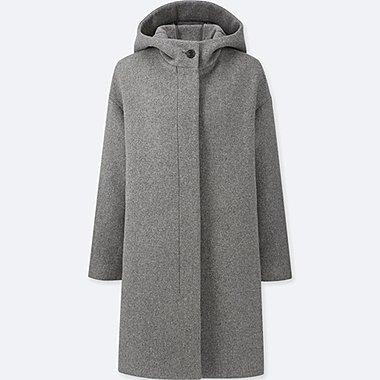 WOMEN LIGHTWEIGHT WOOL-BLEND HOODED COAT, GRAY, medium