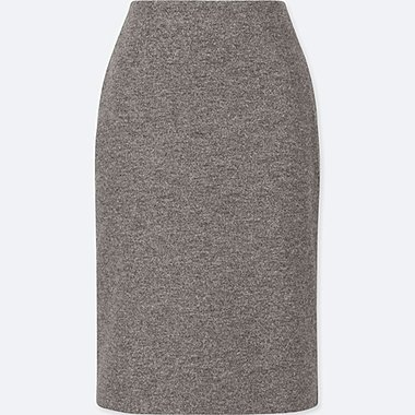 WOMEN WOOL BLEND HIGH WAISTED PENCIL SKIRT