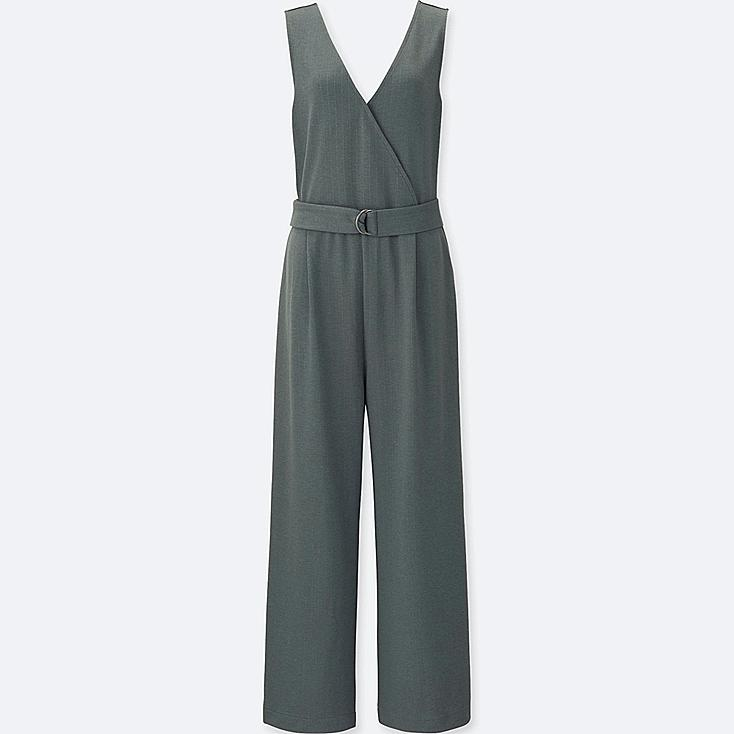 WOMEN PONTE SLEEVELESS WRAP JUMPSUIT | Tuggl