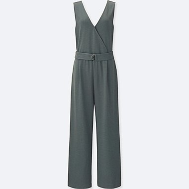WOMEN PONTE KNIT SLEEVELESS WRAP JUMPSUIT