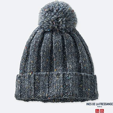 WOMEN KNITTED BEANIE (INES DE LA FRESSANGE), GRAY, medium