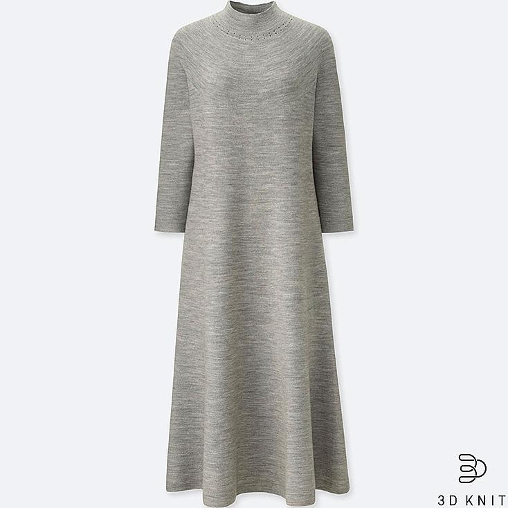 WOMEN 3D MERINO MOCK NECK LONG-SLEEVE DRESS, GRAY, large