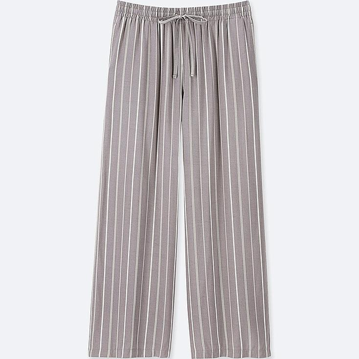 WOMEN STRIPED DRAPE WIDE PANTS, GRAY, large