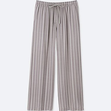 WOMEN STRIPED DRAPE WIDE PANTS, GRAY, medium
